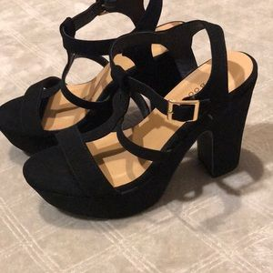 Bamboo faux suede strappy platform high heels